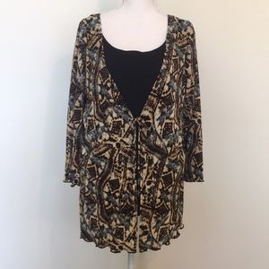 Notions Brand Tribal Print Blouse W/ Faux Camie
